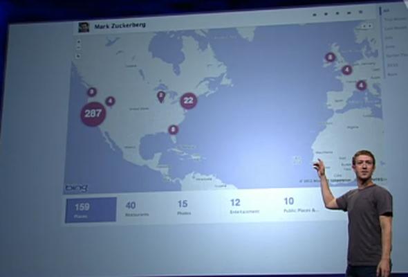 Ukážka mapy, ktorú zobrazí Facebook Timeline